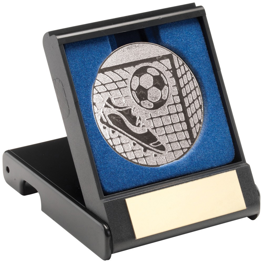 9cm Black Plastic Box With Foil Football Insert - Silver 3.5In
