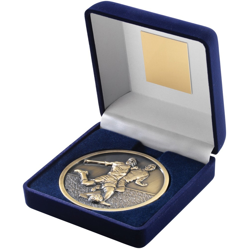 10.5cm Blue Velvet Box & Football Medal - Antique Gold 4In