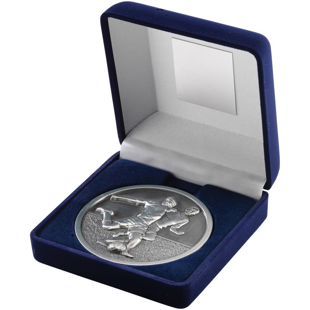 10.5cm Blue Velvet Box & Football Medal - Antique Silver 4In