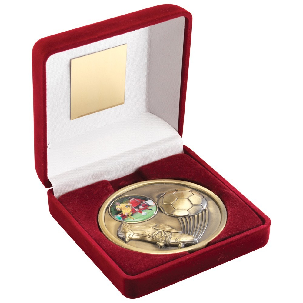 10.5cm Red Velvet Box+Medal Football Trophy - Antique Gold 4In