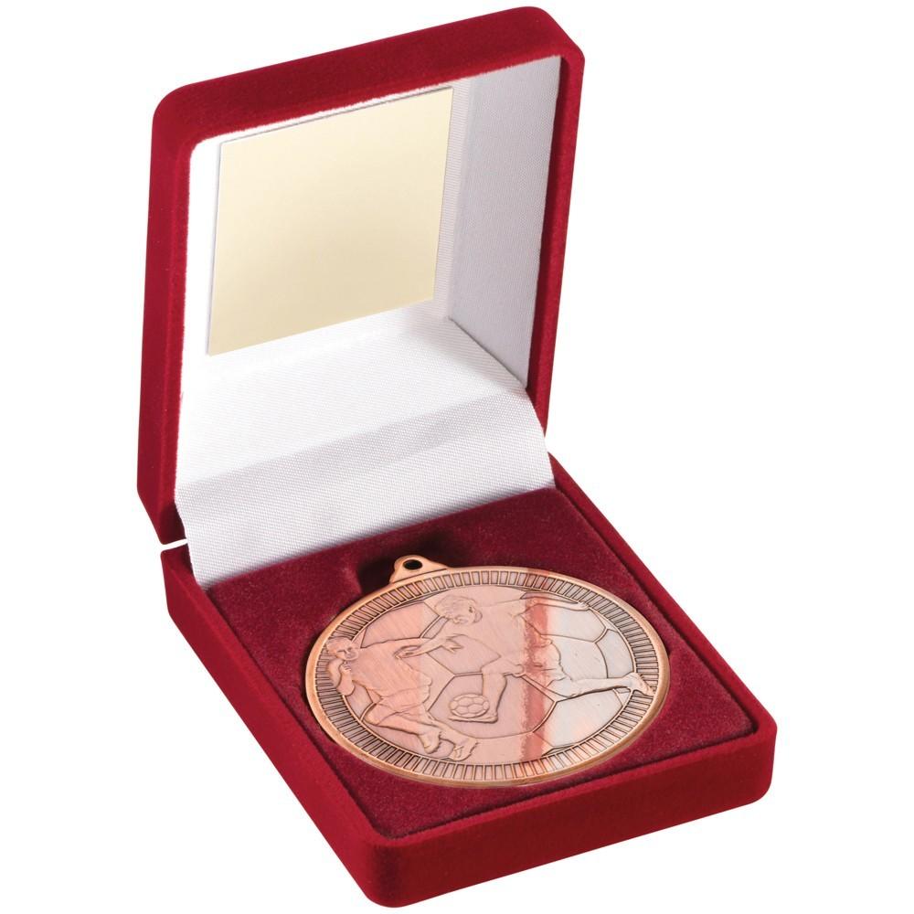 Red Velvet Box With Football Medal