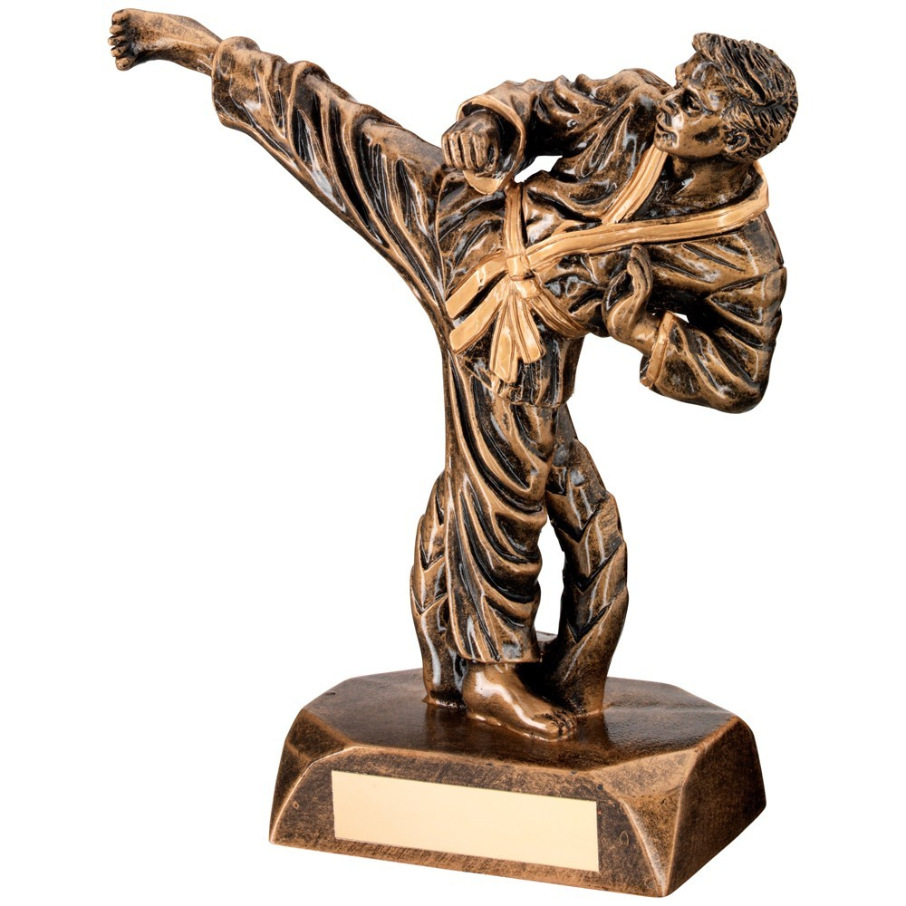 Awesome Karate Male Kicking Resin Trophy - Available in 2 sizes