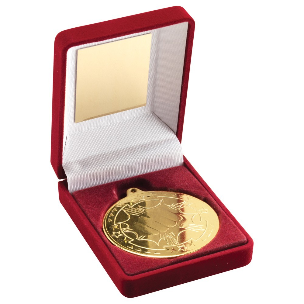 9cm Red Velvet Box & Martial Arts Medal - Gold 3.5In