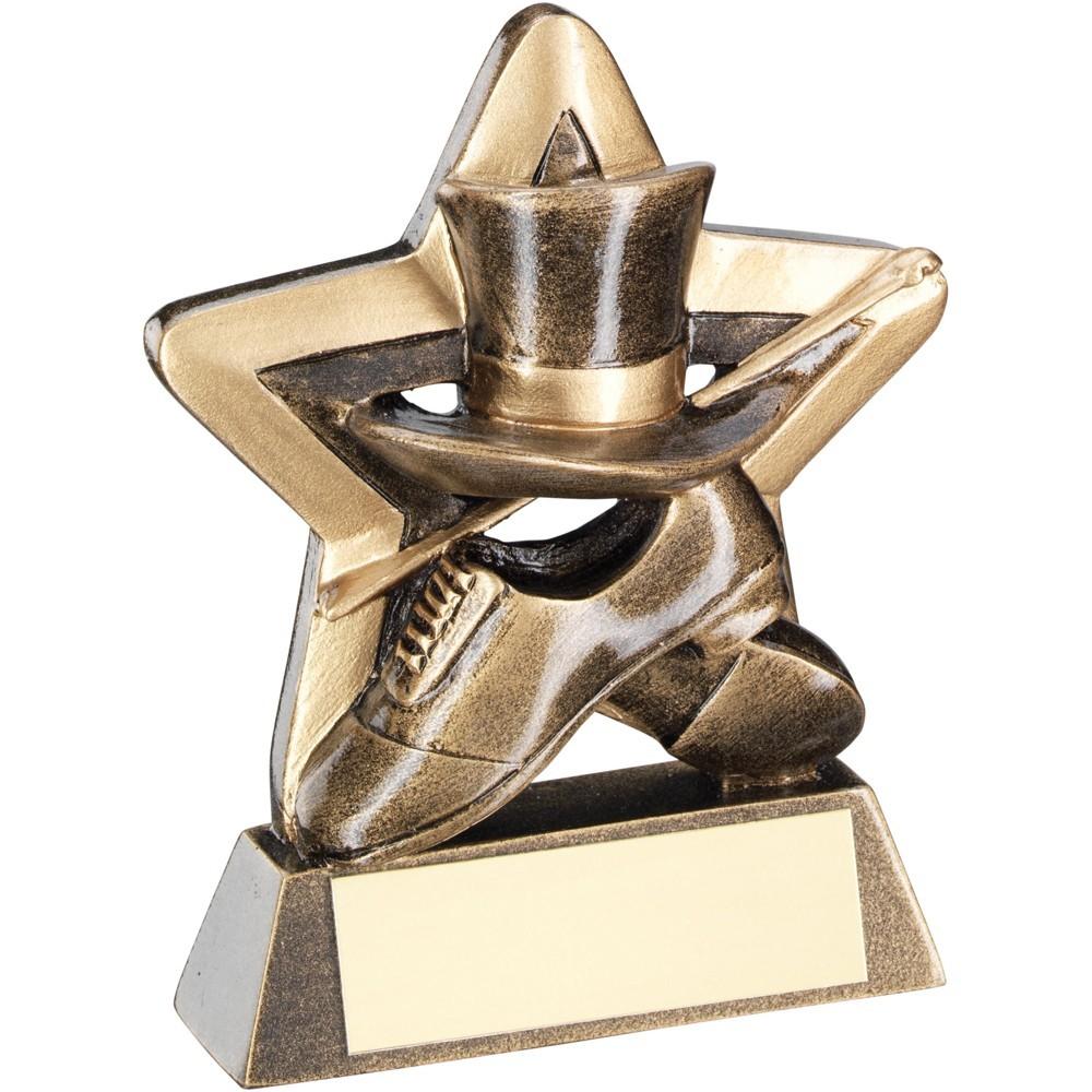 9.5cm Bronze & Gold Top Hat & Gloves & Cane Mini Star Trophy