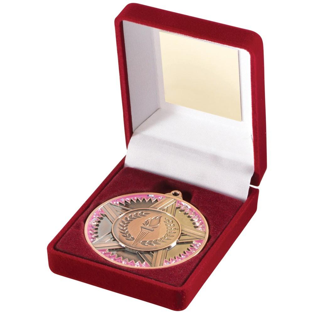 Red Velvet Box With Star/Torch Medal