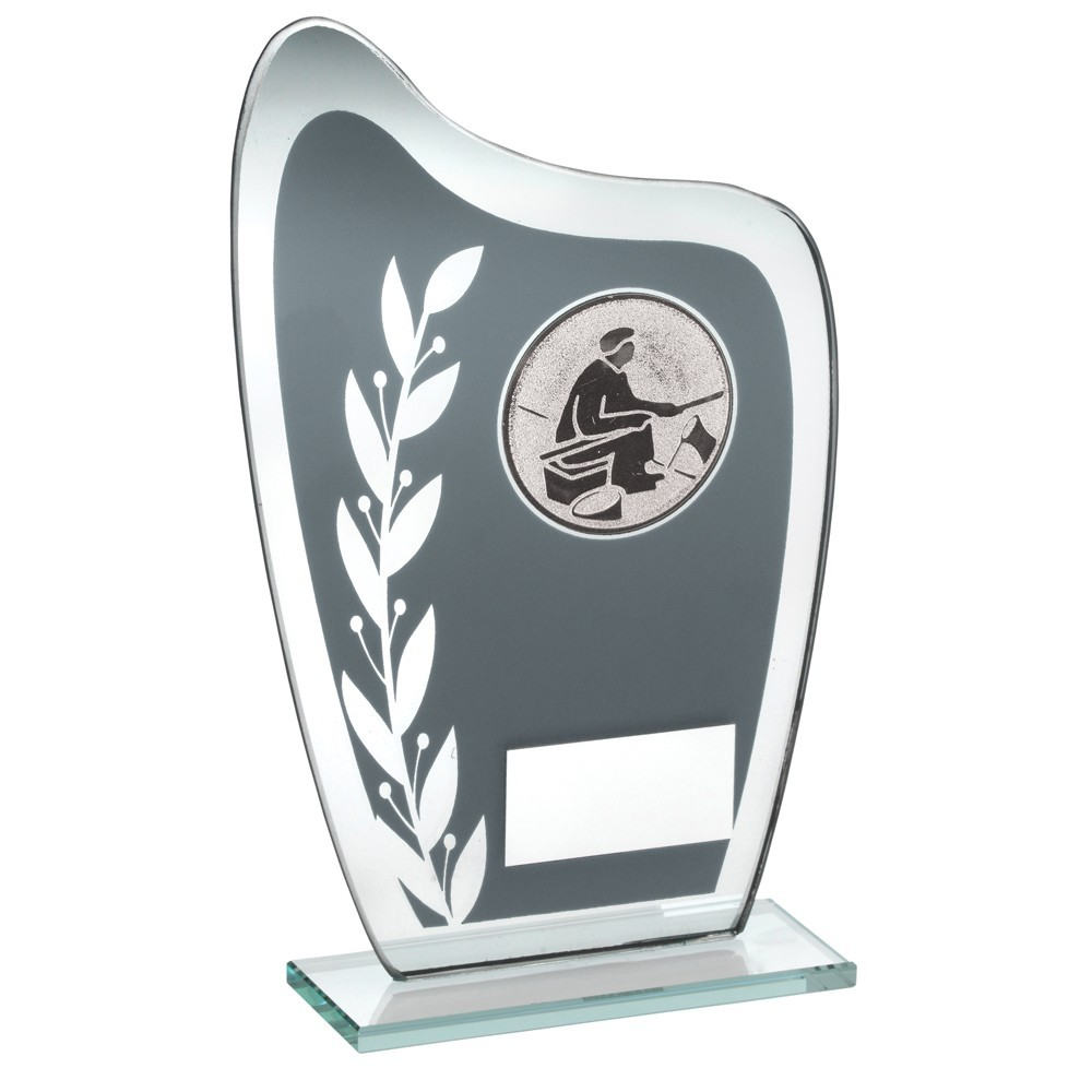 16.5cm Grey & Silver Glass Plaque With Angling Insert Trophy - 6.5In