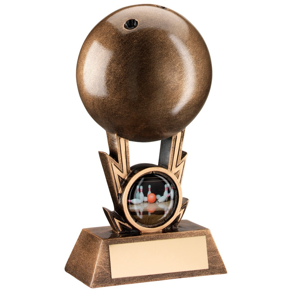 Bronze And Gold Ten Pin Ball On Strikes Trophy