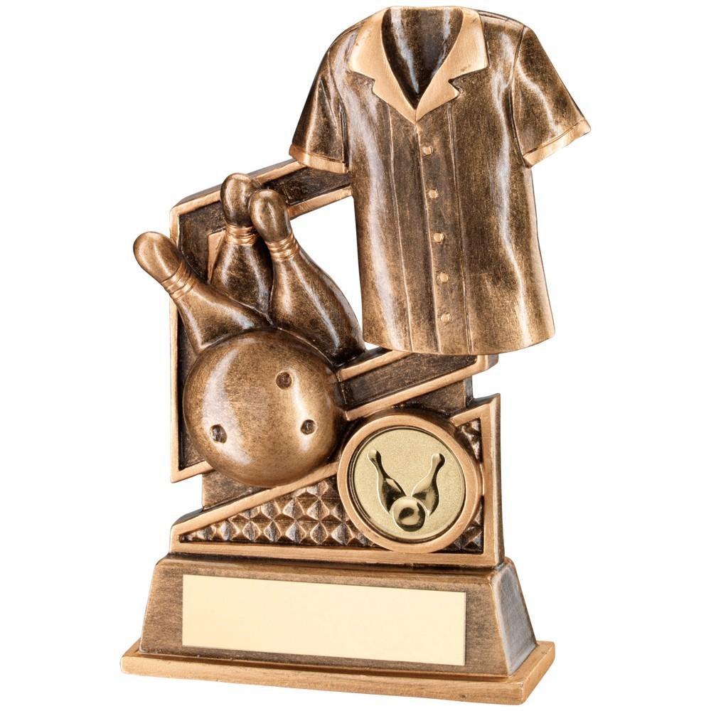 12cm Bronze & Gold Ten Pin Diamond Series Trophy - 4.75In