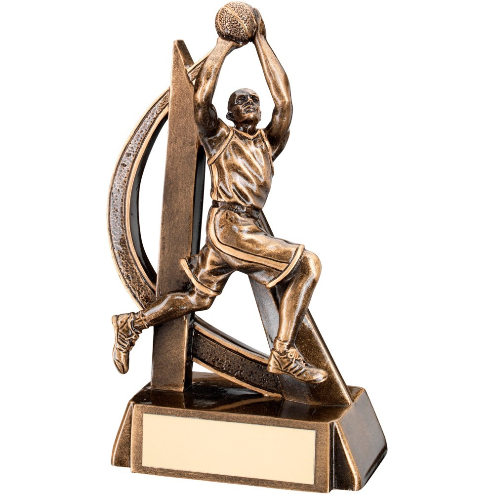 Bronze And Gold Male Basketball Geo Figure Trophy