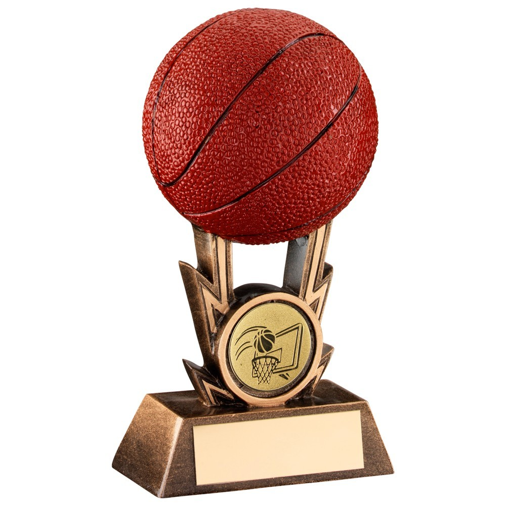 Bronze, Gold And Orange Basketball On Strikes Trophy