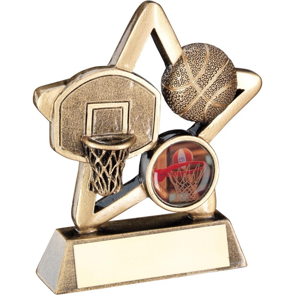 9.5cm Bronze & Gold Basketball Mini Star Trophy