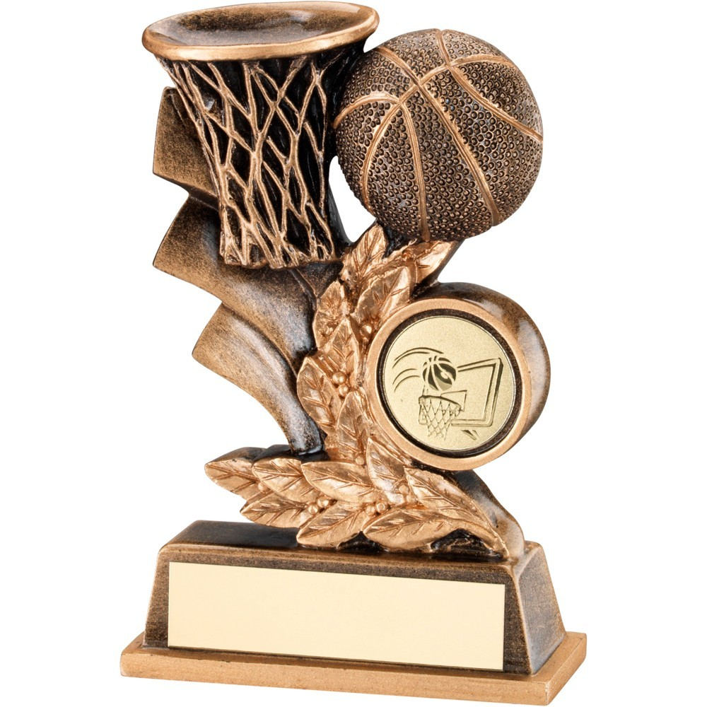 Bronze And Gold Basketball Leaf Plaque Trophy