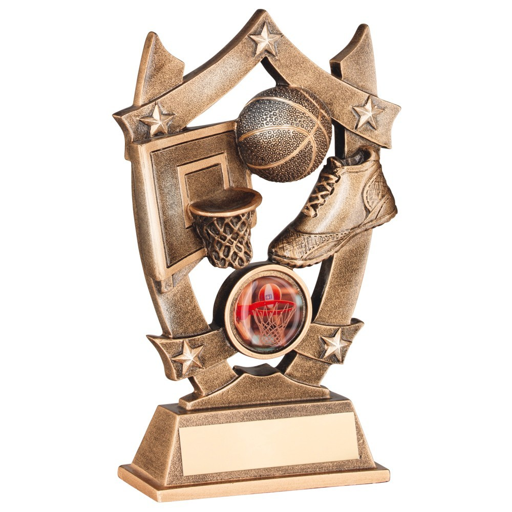 Bronze And Gold Resin Basketball 5 Star Trophy