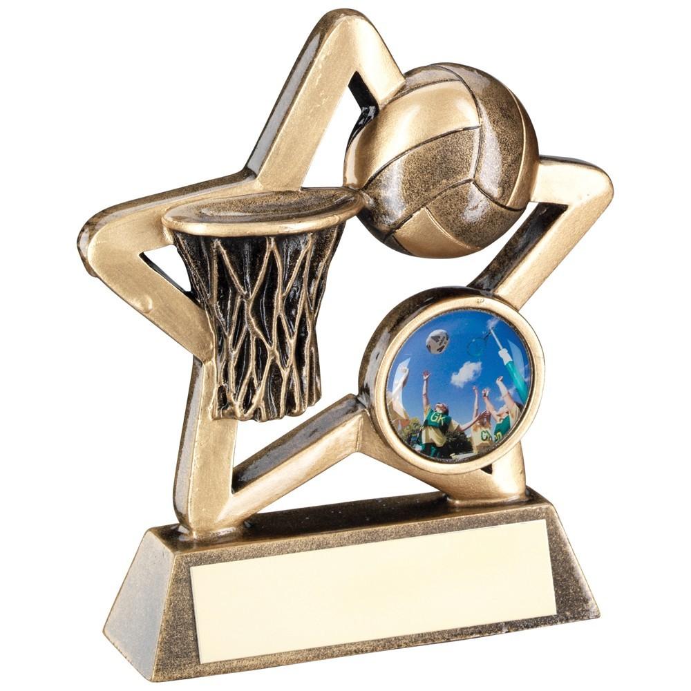 9.5cm Bronze & Gold Netball Mini Star Trophy