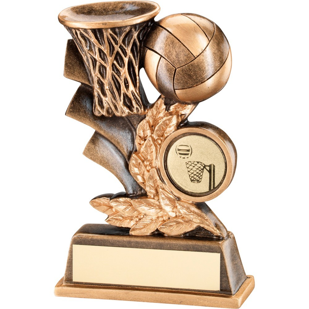 Bronze And Gold Netball Leaf Plaque Trophy