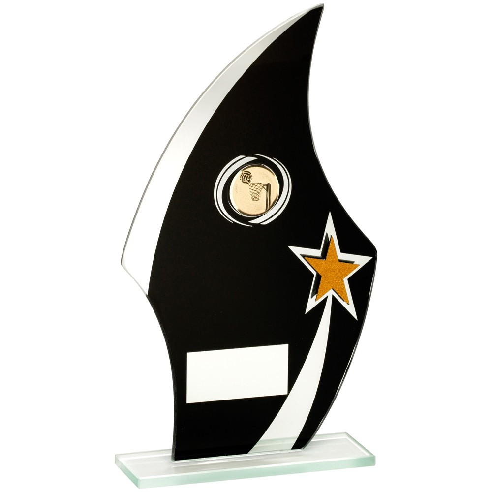 Jade Glass Flame Plaque Black, Silver And Gold With Netball Insert Trophy