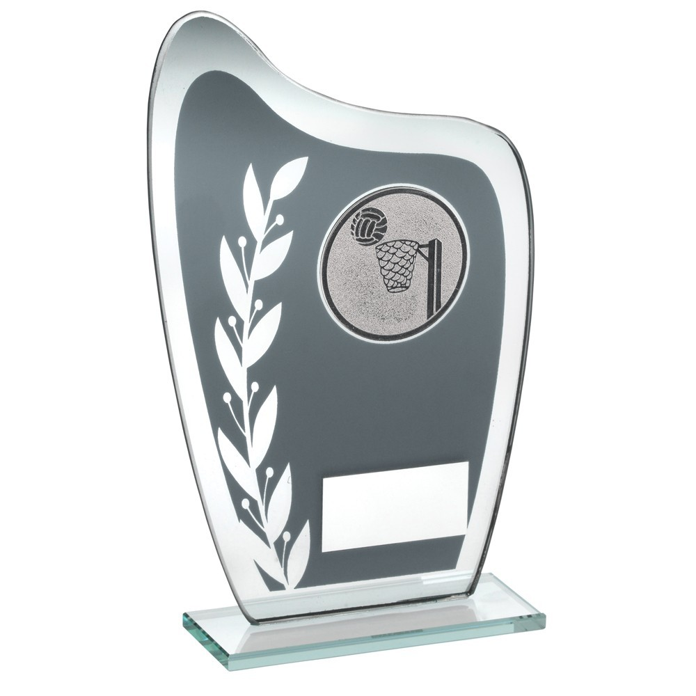 16.5cm Grey & Silver Glass Plaque With Netball Insert Trophy - 6.5In