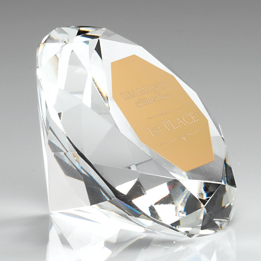 6.5cm Clear Glass Diamond Paperweight Trophy - 2.5In