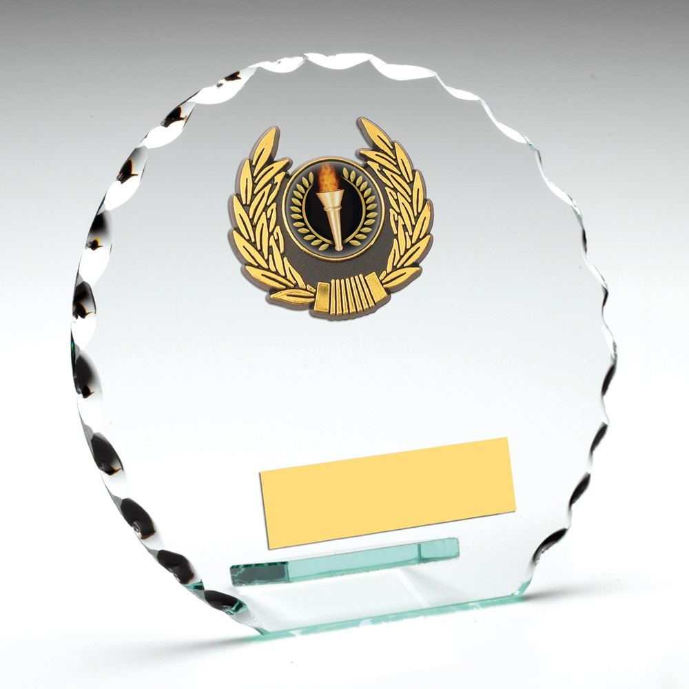 Jade Glass Patterned Round With Gold Trim Trophy