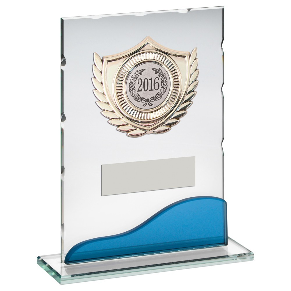 Jade And Blue Glass Plaque With Silver Lionheart Trim Trophy