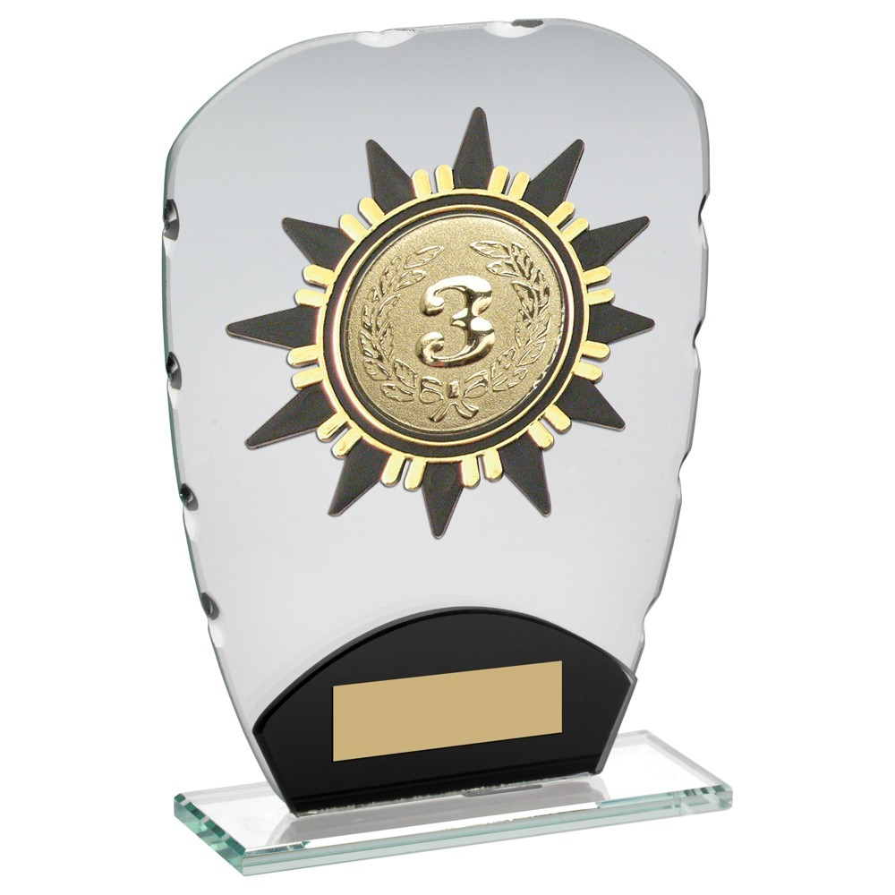 Jade And Black Glass Plaque With Gold Sunshine Trim Trophy