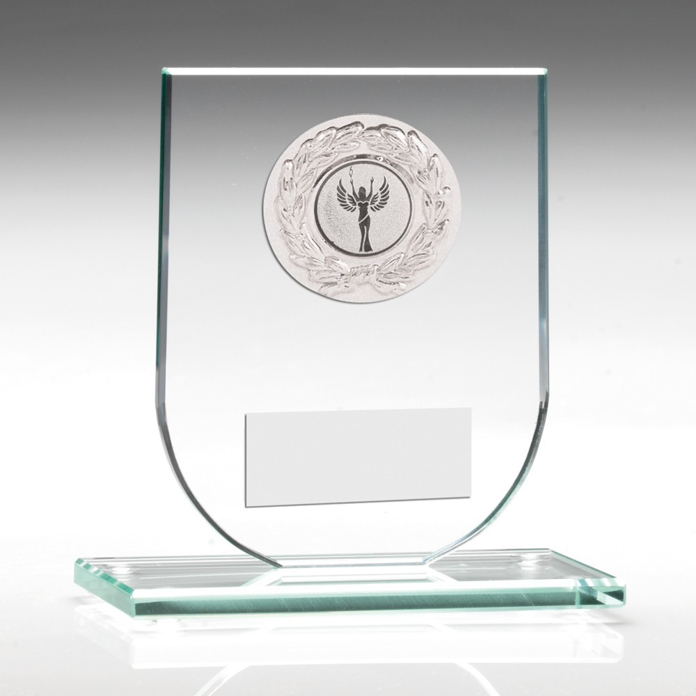 Jade Glass Plaque With Silver Trim Trophy