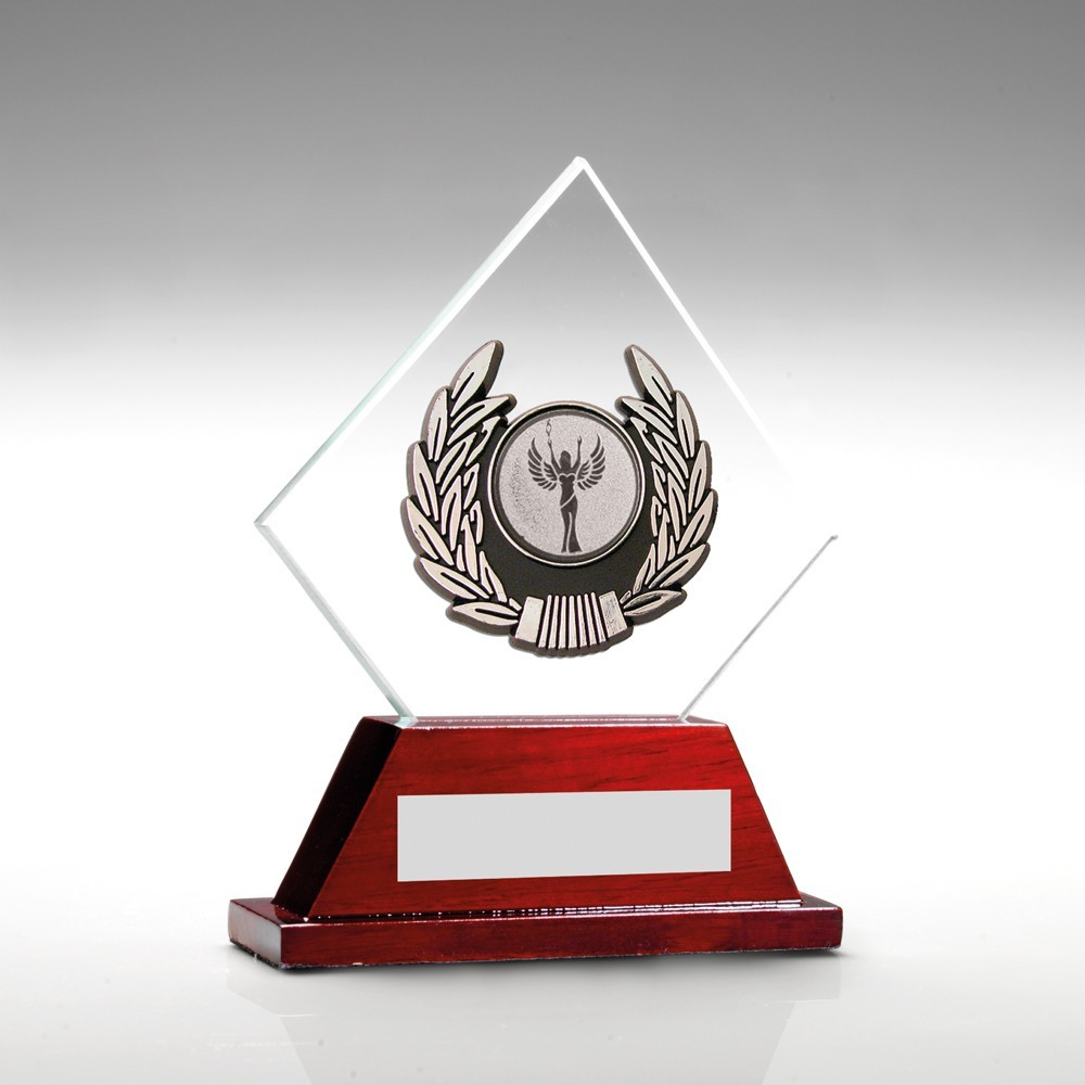 Jade Glass And Rosewood Base With Silver Trim Trophy