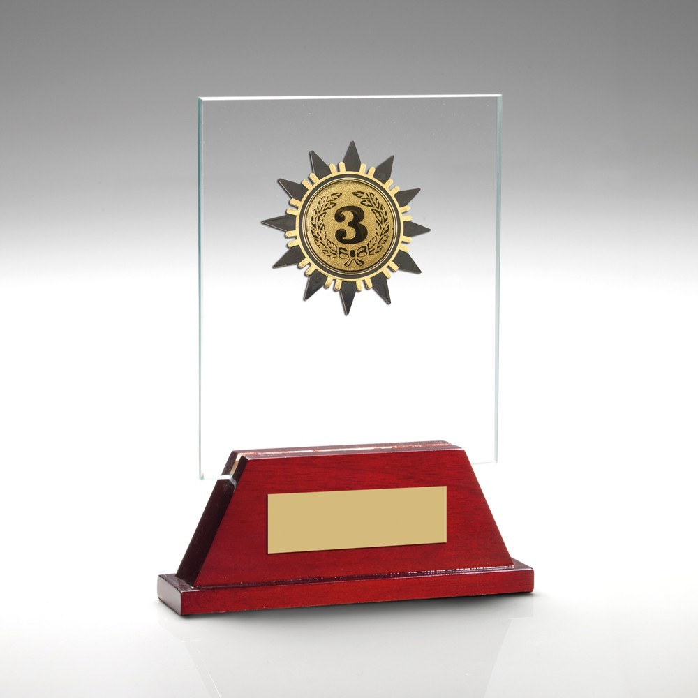Jade Glass And Rosewood Base With Gold Trim Trophy