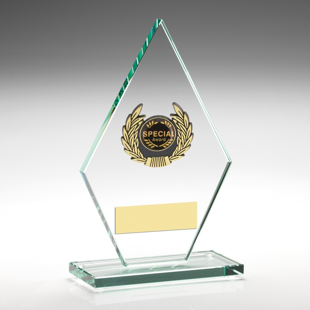 Jade Glass Plaque With Gold Trim Trophy