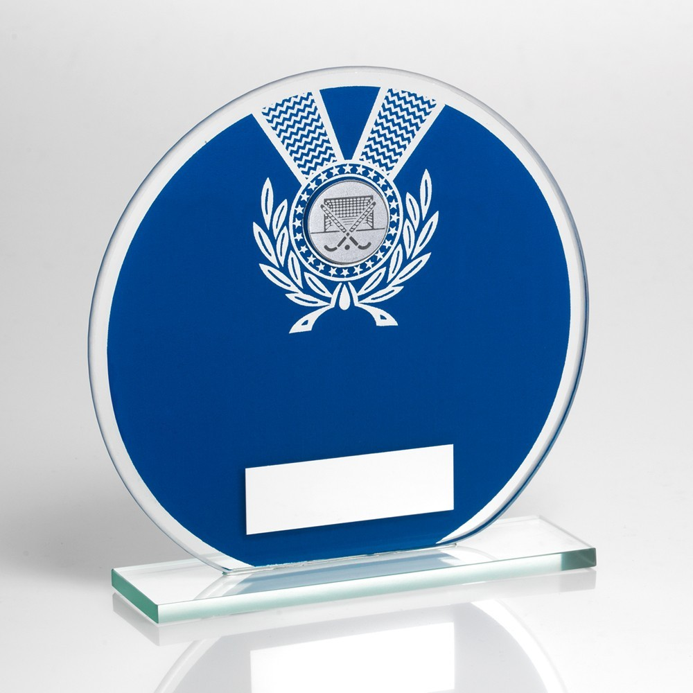 Jade Glass Round Plaque Blue And Silver With Hockey Insert Trophy