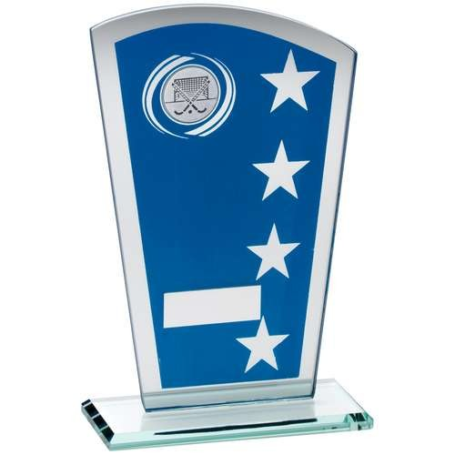 16.5cm Blue/Silver Printed Glass Shield With Hockey Insert Trophy