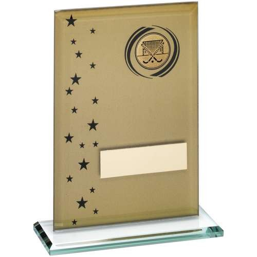15cm Gold/Black Printed Glass Rectangle With Hockey Insert Trophy