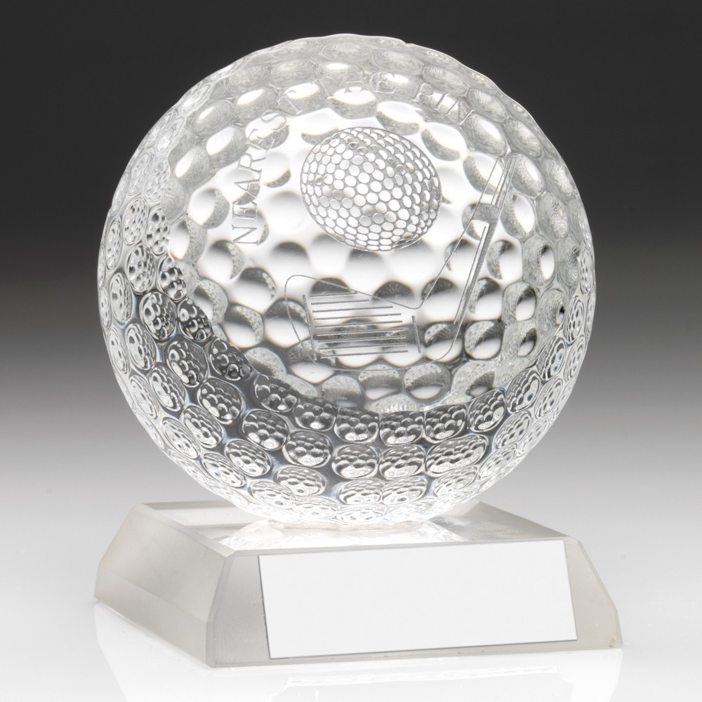 Classy Jade Glass Nearest the Pin Golf Award - Complete with Quality Presentation Case
