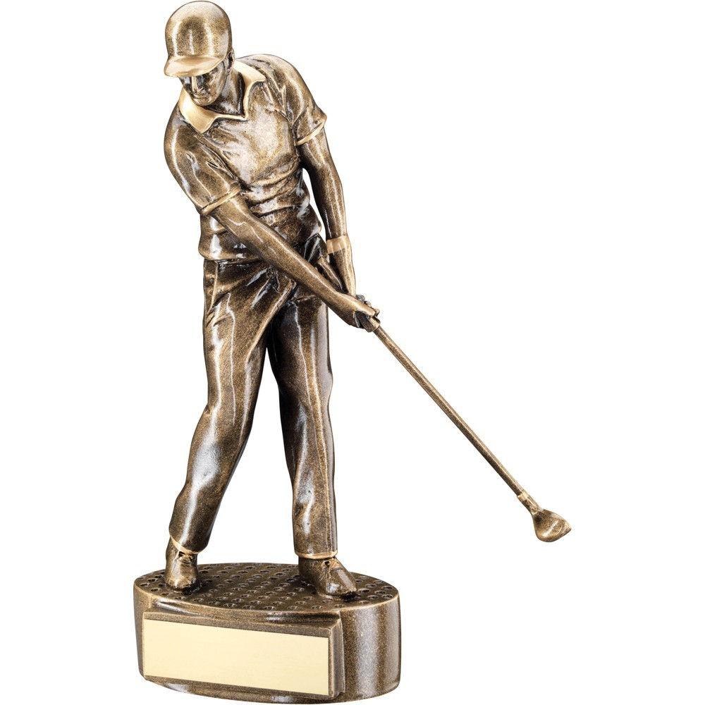 20cm Bronze & Gold Male 'Mid Swing' Golfer Trophy - 7.75In