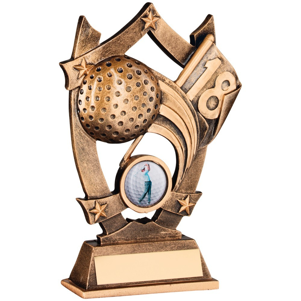 Bronze And Gold Resin Golf 5 Star Trophy