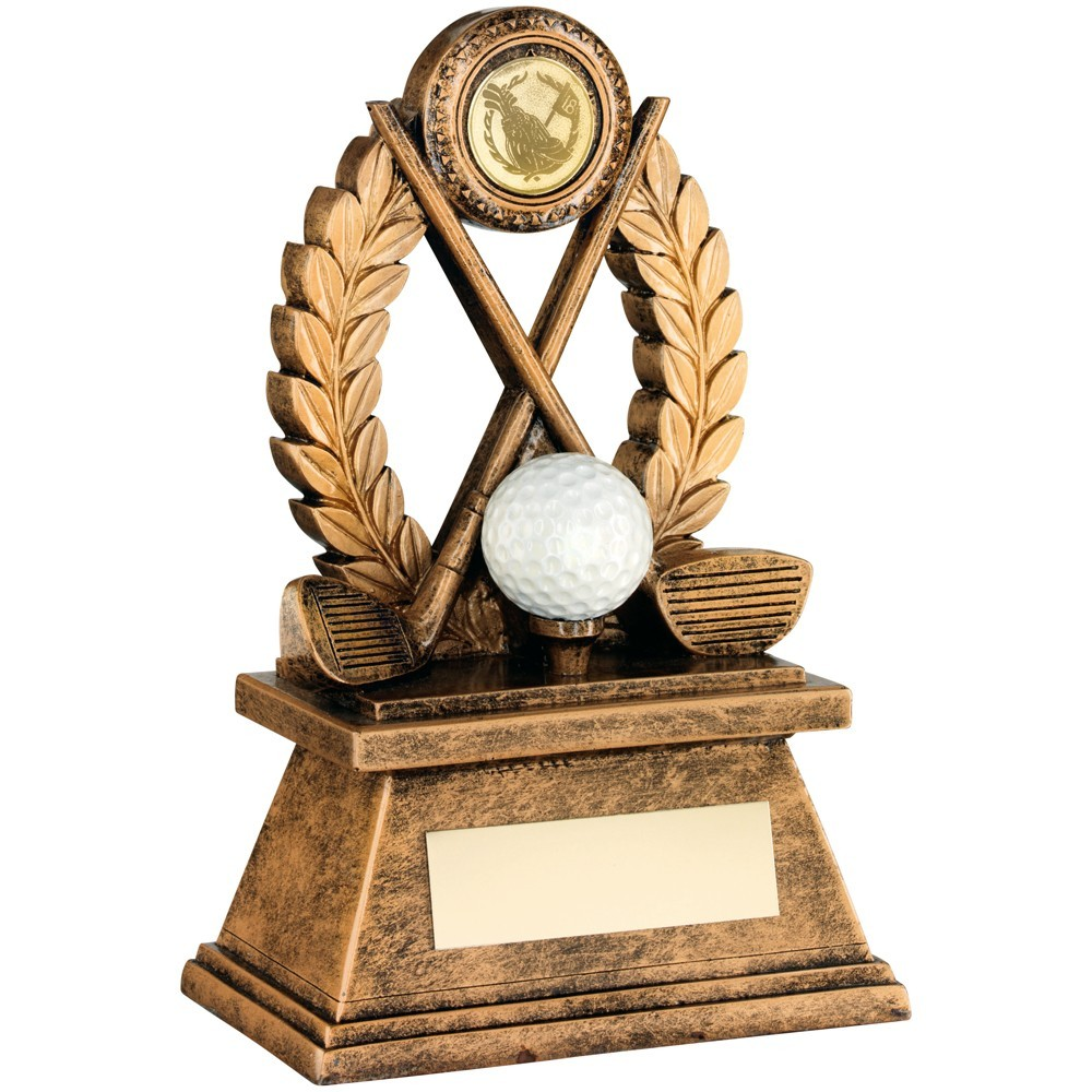 Bronze And Gold 'Golf' Oval Wreath Trophy