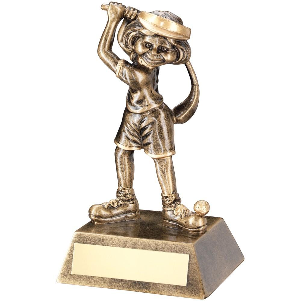 14cm Bronze & Gold Female Comic Golf Figure Trophy - 5.5In