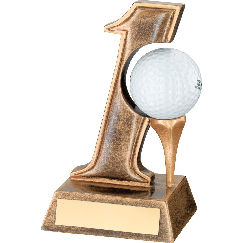 Stylish Gold Coloured Hole in One Golf Trophy Resin - Available in 1 size only
