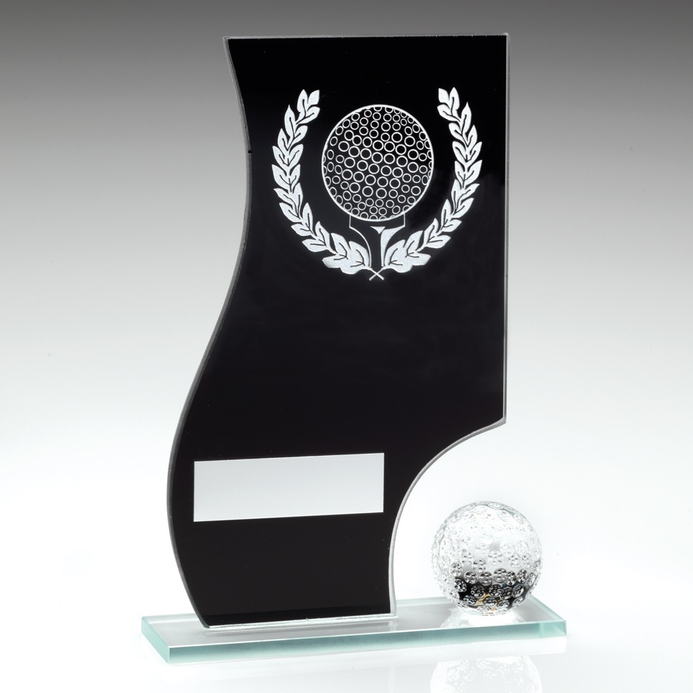 Black And Silver Glass Golf Plaque With Ball Trophy