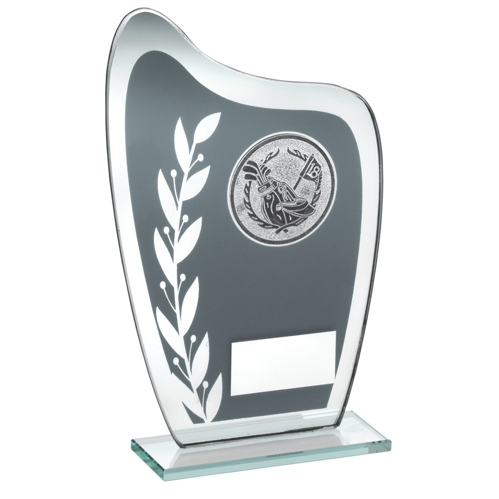 Grey And Silver Glass Plaque With Golf Insert Trophy