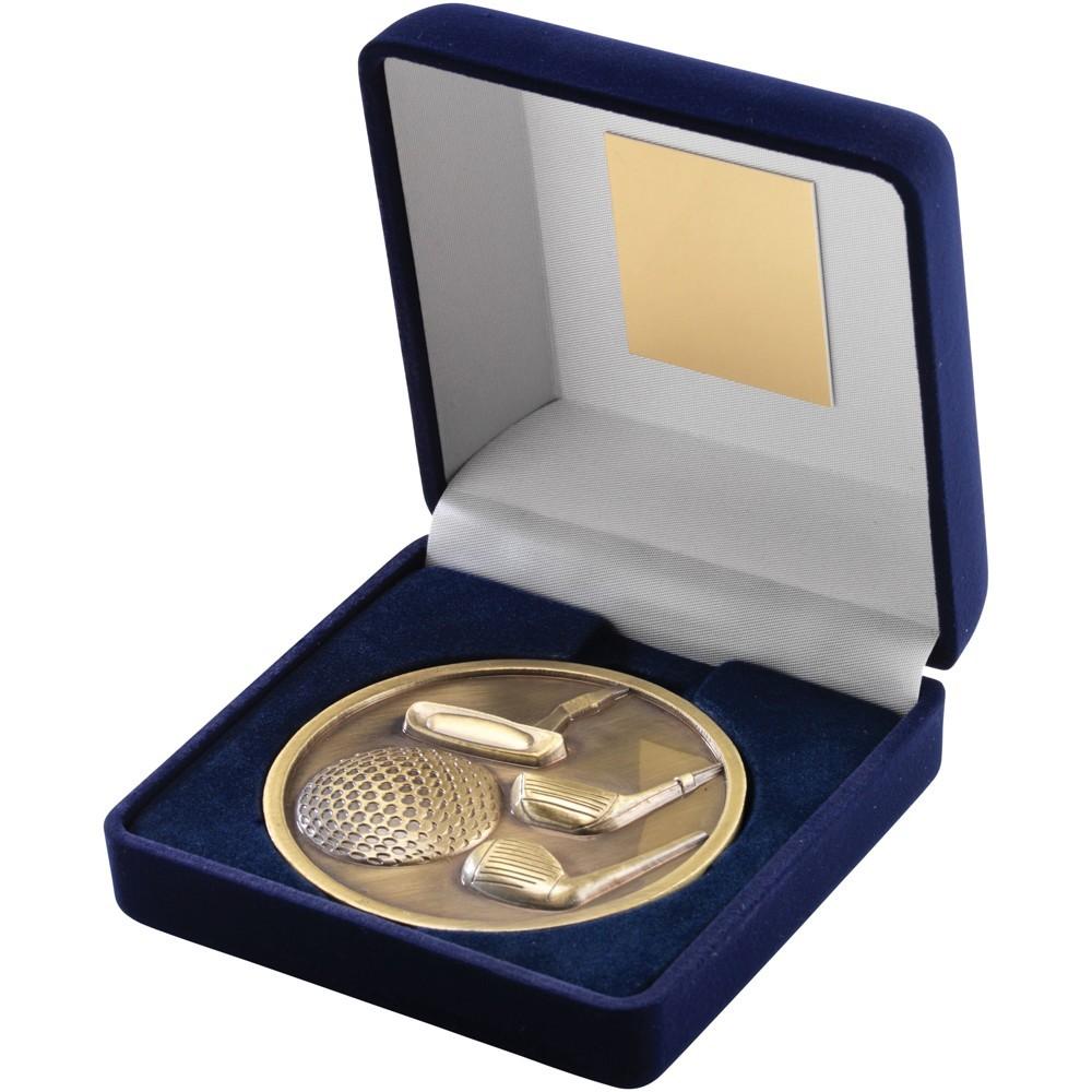 10.5cm Blue Velvet Box & Golf Medal - Antique Gold 4In