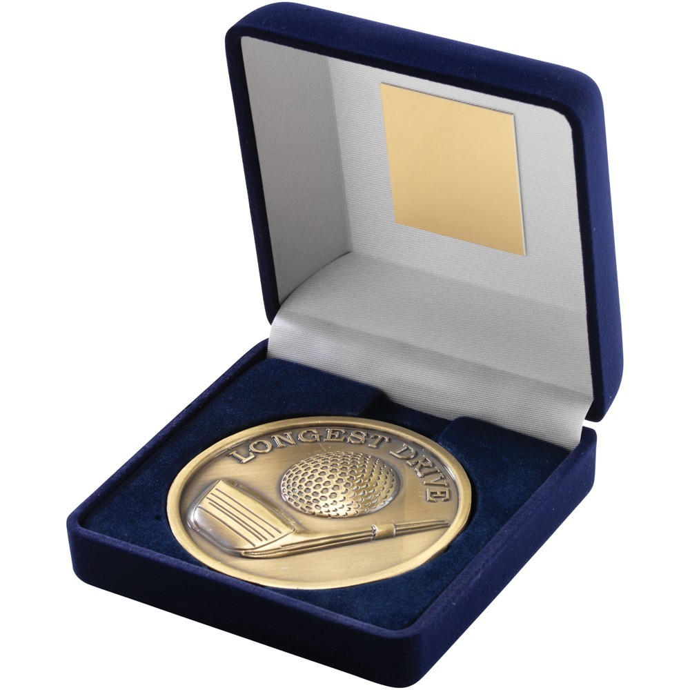 10.5cm Blue Velvet Box & Golf Medal - Antique Gold 'Longest Drive' 4In