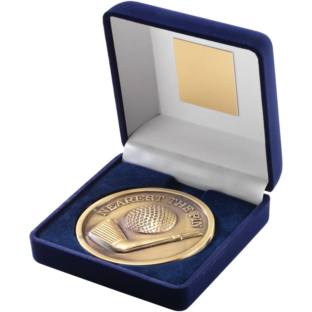 10.5cm Blue Velvet Box & Golf Medal - Antique Gold 'Nearest The Pin' 4In