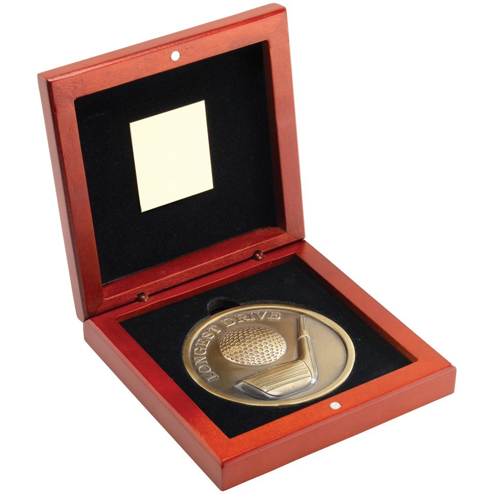 11.5cm Rosewood Box & lion Golf Medal - Antique Gold 'Longest Drive' 4.5In