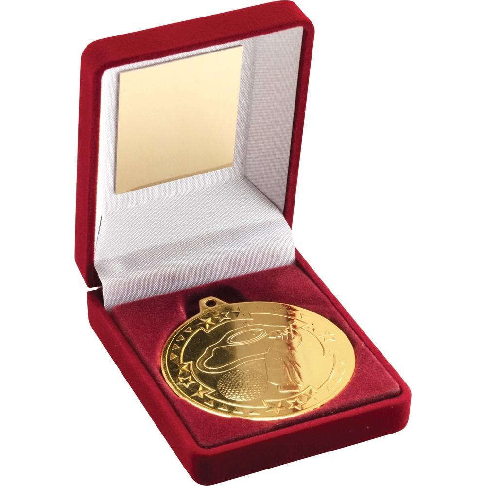 9cm Red Velvet Box & Golf Medal - Gold 3.5In