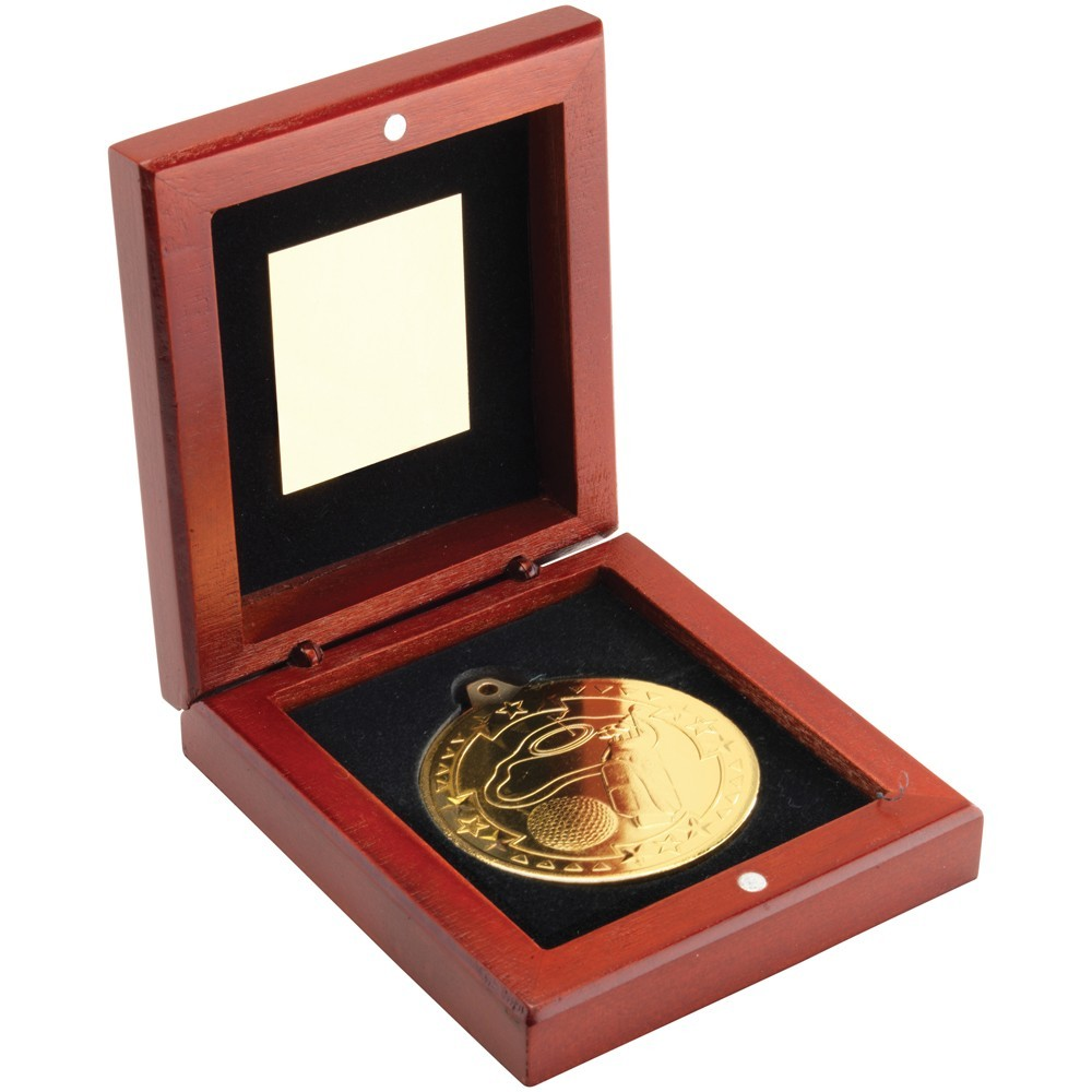 9.5cm Rosewood Box & Golf Medal - Gold 3.75In