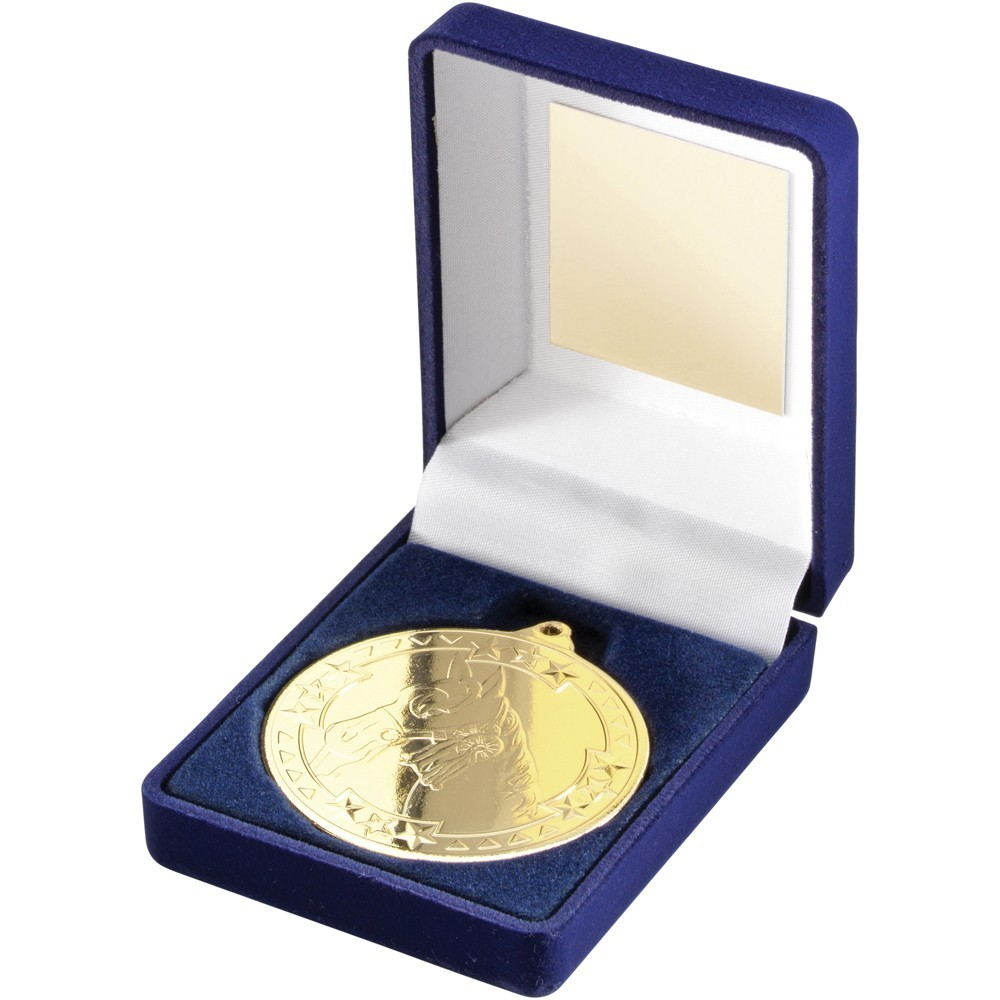9cm Blue Velvet Box & Horse Medal - Gold 3.5In