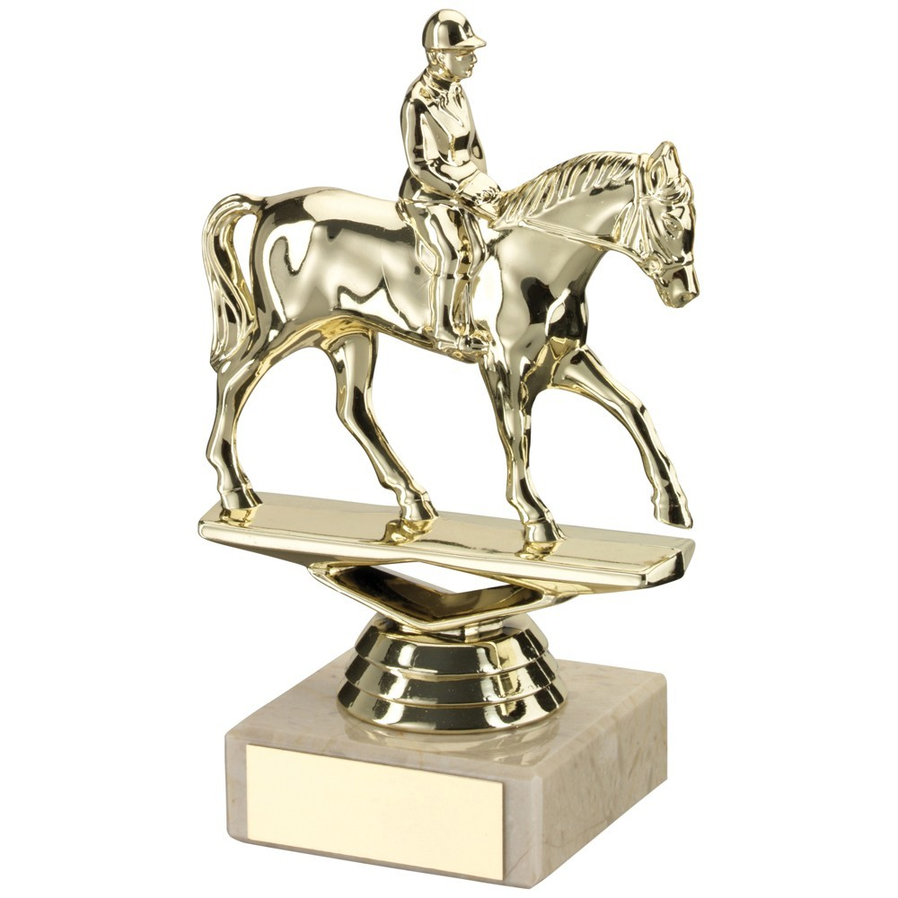 Gold Plastic With Marble Horse/Rider Trophy