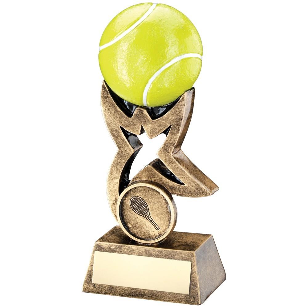 10.5cm Bronze & Gold & Yellow Tennis Ball On Star Riser Trophy