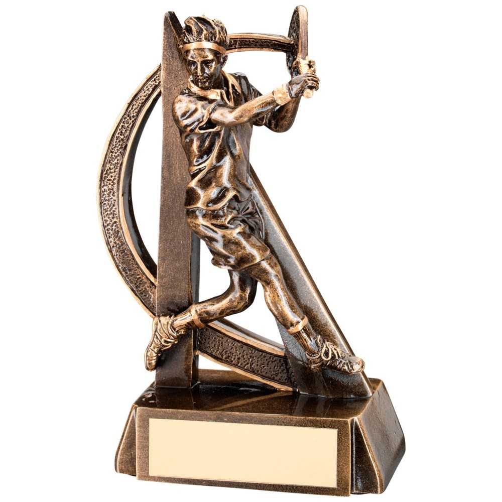 Bronze And Gold Male Tennis Geo Figure Trophy
